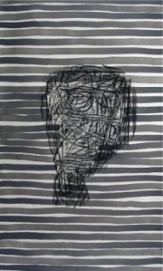 'Cabeza #1' 2006, india ink and crayon on paper, 32.22H x 21.22W