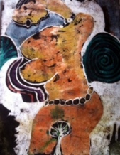 "Oke'badan Atage Olomu oru, batik on handmade paper, 22"" x 30"" July 2014"