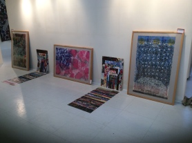 Before the show. Uribe silkscreens placed for hanging.