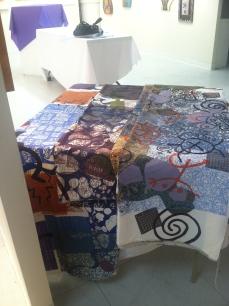 Uribe silkscreens on cotton fabric