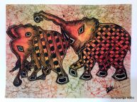"SOLD: ""Loxodonta Africana,"" pen and ink on batik (rice paper), 15"" x 11"""