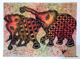 """SOLD: """"Loxodonta Africana,"""" pen and ink on batik (rice paper), 15"""" x 11"""""""