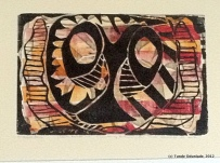 "Animalistic Mask, 18"" x 24"", woodblock print 1996 / Edition 2012"
