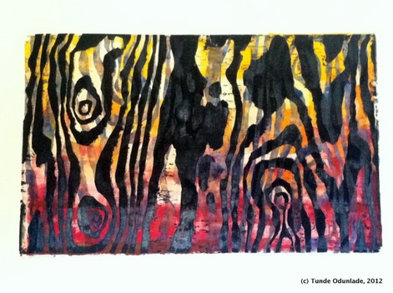 "Mother Nature, 19"" x 30"", woodcut print 1992 / Edition 2012"