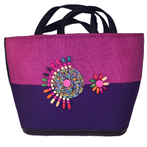 Montara-summer-tote-bag-from-Kupendiza-burlap-and-beads-fuscia-purple