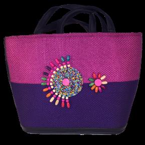 Montara-summer-tote-bag-from-Kupendiza-burlap-and-beads-fuscia-purple