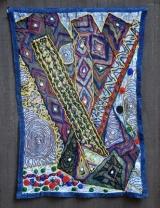 "Title: Bone of Contention? Medium: Beaded Batik Quilt Tapestry Date: 2017-18 47 x 32"" $11,900."
